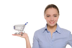 Empty Shopping Carts On A Female Hand Royalty Free Stock Photography