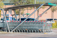 Empty shopping carts stacked together Royalty Free Stock Photography