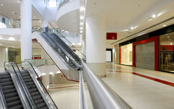 Empty shopping mall. Escalators in empty shopping mall or center Royalty Free Stock Photo