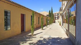 Empty shopping street after the store closes on the Balearic isl royalty free stock photography