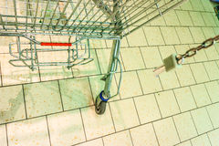 Empty shopping trolley cart in gorcery store Royalty Free Stock Photo