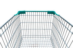 Empty shopping trolley cart on white background. Empty shopping trolley cart isolated on white background Stock Photography
