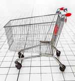 Empty shopping trolley in a supermarket. Royalty Free Stock Image