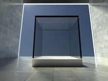 Empty showcase, 3d exhibition space Stock Photos