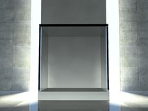 Empty showcase, 3d exhibition space Stock Images