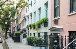 Empty sidewalk in front of historic buildings in Manhattan New York City Stock Images