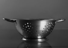 Empty sieve strainer stainless metal with handles. Front view Royalty Free Stock Photos