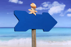 Empty sign with beach and copyspace in summer on vacation Stock Image