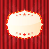 Empty sign on red curtain. Cinema, theatre, casino signboard. Retro light frame with glowing lamps Stock Image