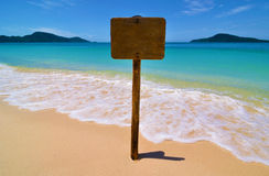 Empty Sign on Tropical Beach Royalty Free Stock Photo
