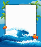 An empty signage along with the big wave and fishes. Illustration of an empty signage along with the big wave and fishes Stock Image