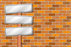 Empty signages in front of the stonewall. Illustration of the empty signages in front of the stonewall Royalty Free Stock Images