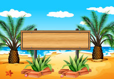 An empty signboard at the beach Royalty Free Stock Images