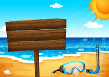 An empty signboard at the beach Stock Photo