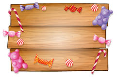 An empty signboard with candies Stock Photo