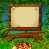 Empty signboard at the forest. Illustration of empty signboard at the forest Stock Images