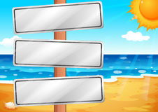 Empty signboards at the beach. Illustration of the empty signboards at the beach Royalty Free Stock Images