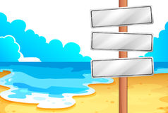 Empty signboards at the beach. Illustration of the empty signboards at the beach on a white background Stock Photo
