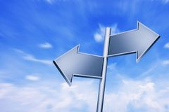 Empty signposts with bright blue sky Royalty Free Stock Photo