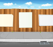 Empty Signs On Urban Wood Fence stock illustration