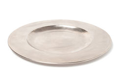 Empty silver plate Stock Photo