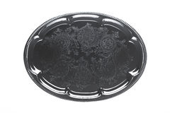 Empty silver tray with floral ornament Royalty Free Stock Photo