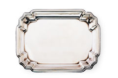 Empty silver tray isolated on white Royalty Free Stock Images