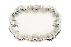 Empty silver tray isolated on white Stock Photography