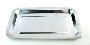 Empty silver tray on white background Stock Photo