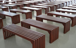 Empty simple wooden benches Stock Photo