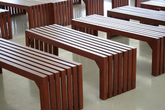 Empty simple wooden benches Stock Photos