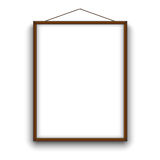 Empty A4 sized vector paper wooden frame mockup hanging with rope. Illustration mockup. Empty A4 sized vector paper frame mockup hanging with rope. Illustration Stock Photo