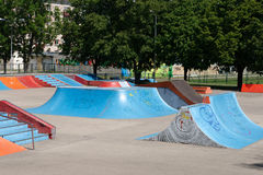 Empty skate park. With ramps and other elements Royalty Free Stock Photography