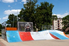 Empty skate park. With colored ramps Stock Photography