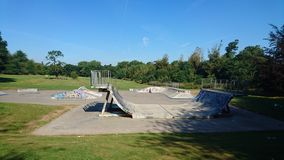 Empty skatepark in summer Stock Photo
