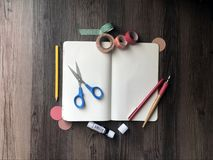 Arts and crafts notebook blank stock photos
