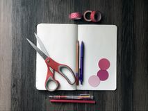 Blank notebook and art supplies Stock Photos