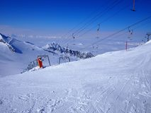 Empty Ski Lift, Blue Sky, Hintertux, Austria Royalty Free Stock Image