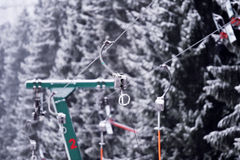 Empty ski lift cable in a ski resort Royalty Free Stock Image