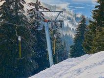 Empty Ski Lift. In Madaras, Harghita, Romania Royalty Free Stock Photography