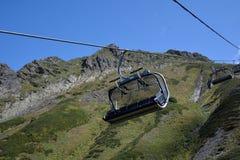 Empty ski lift in the mountains Royalty Free Stock Photos