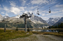 Empty ski lift seats. Along the Mont Blanc trail in France Stock Photo