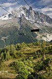 Empty ski lift seats. Along the Mont Blanc trail in France Stock Images