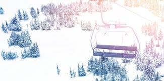 Empty ski lift in ski resort. During winter Stock Images