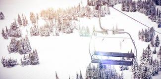 Empty ski lift in ski resort. During winter Royalty Free Stock Image