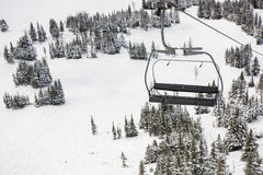 Empty ski lift in the ski resort. During winter Stock Images