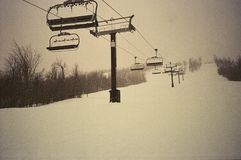 Empty ski lifts. At the end of the day Stock Photography