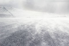 Empty ski slope. Covered with snow pompous Stock Photos