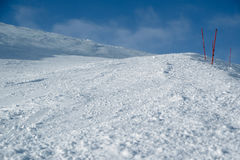 Empty ski slope. With limiters, the bottom view Royalty Free Stock Photos