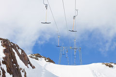 Empty ski tow lift Stock Photo